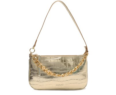 Crossbody Dourada Croco Baguete Corrente