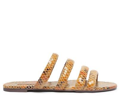 Rasteira Bege Snake Tiras Arredondadas