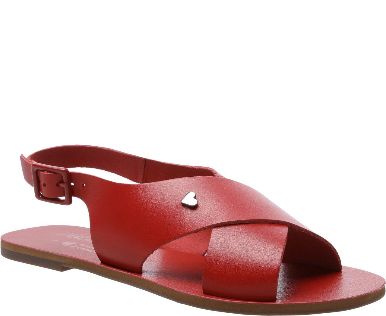 Sandália Tiras Cruzadas Collab Qdb Vermelha | Anacapri