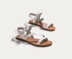 Sandália Branca Tiras Couro