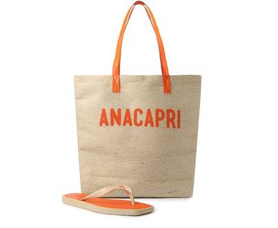 Kit Chinelo Laranja e Bolsa Shopping Anacapri Rústica
