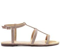 Sandália Tiras Brilho Dourada