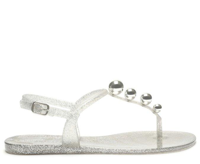 [Pré Venda] Rasteira Prata Plástico Tira Esferas Metalizadas