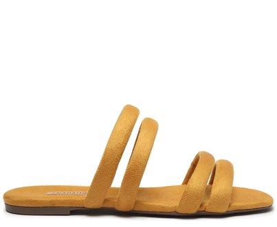 Rasteira Amarela Tiras Arredondadas