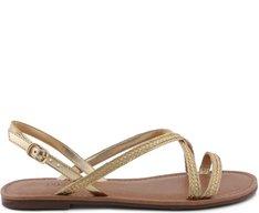Sandália Rasteira Trança Glam Dourada