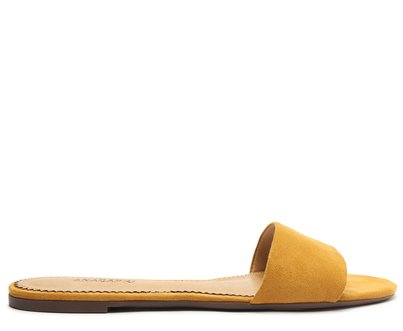 Rasteira Amarela Acamurçada Tira Flat