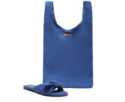[Pré Venda] Kit Rasteira Azul Alice e Bolsa Lona