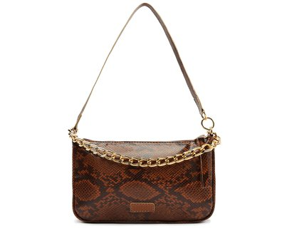 Crossbody Marrom Snake Baguete Corrente