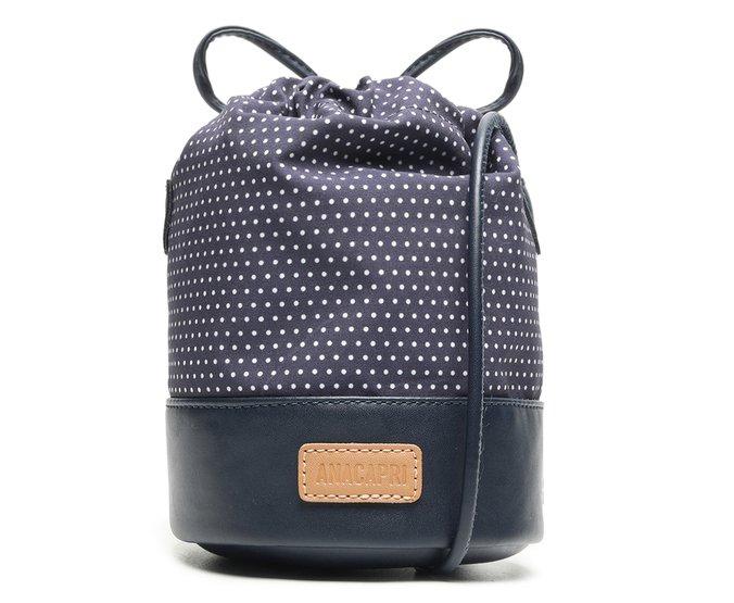 Bolsa Bucket Azul Tecido Poá
