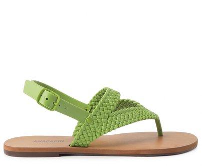 Sandália Verde Rasteira Tiras Trançadas Color Vibes