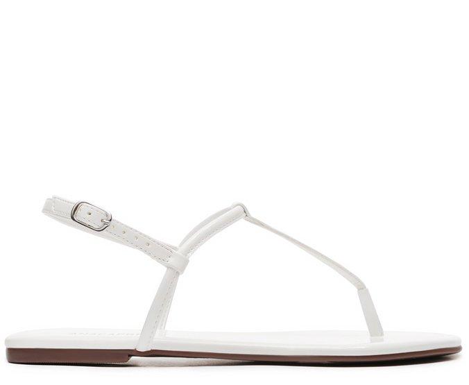 Sandália Branco Slim Verniz