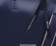 Bolsa Tote Azul e Off-White