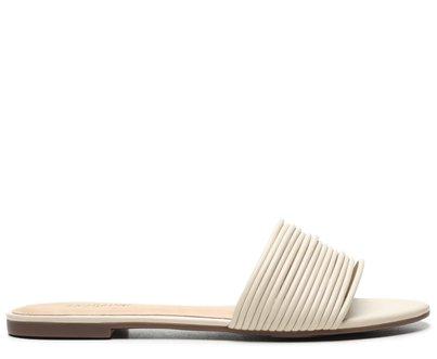 Rasteira Branca Tiras Flat