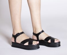 Sandália Flatform Croco Preta