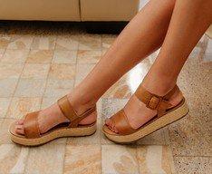 Sandália Flatform Escovado Marrom