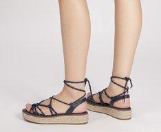 Sandália Flatform Corda Azul Marinho