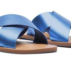 Rasteira Azul Metalizado Couro Tiras Cruzadas
