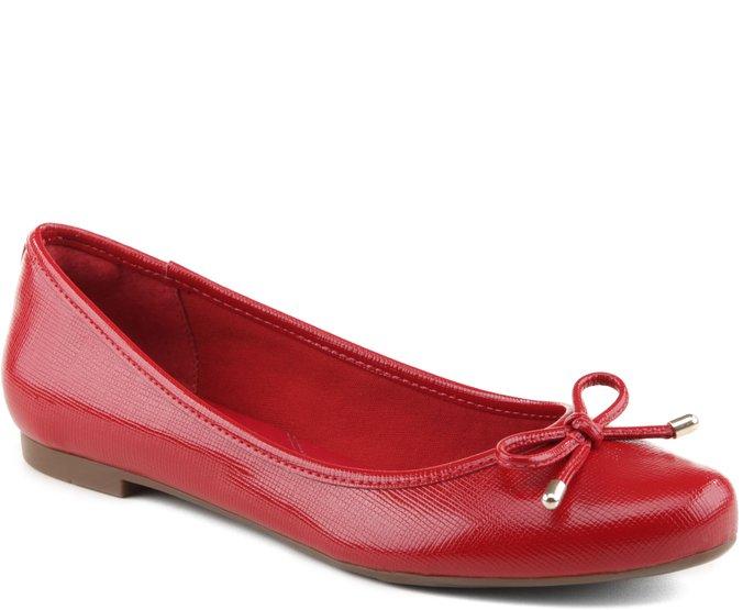 Sapatilha Textura Verniz Vermelho