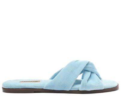 Rasteira Azul Tiras Transpassadas Comfy