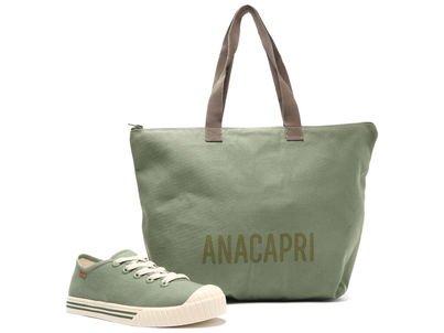 Kit Tênis Verde e Bolsa Shopping Lona