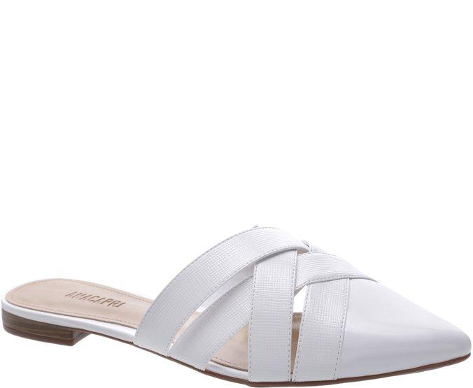Mule Bico Fino Texturizada Branca | Anacapri