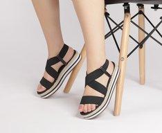 Sandália Flatform Elástico Preto