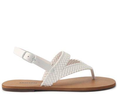 Sandália Branca Rasteira Tiras Trançadas Color Vibes