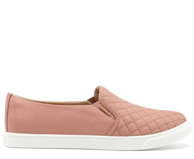 Tênis Slip On Matelassê Nylon Rosa Antigo