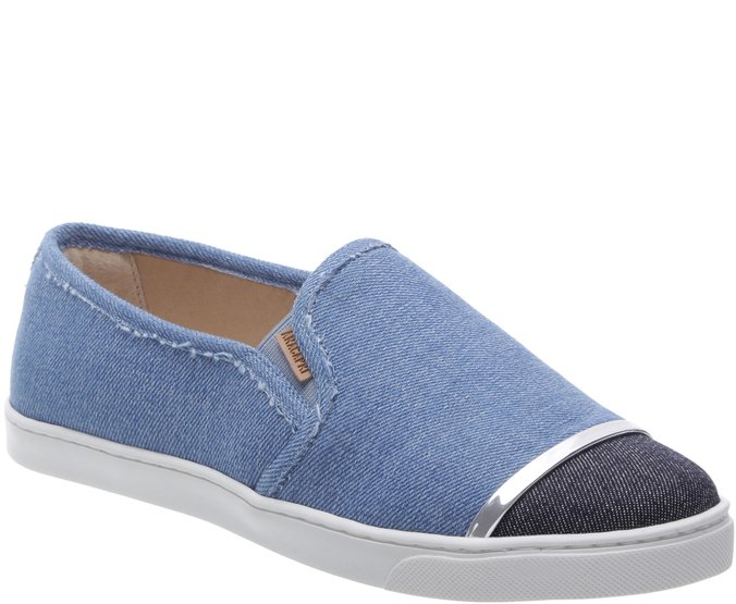 Tênis Slip On Tira Metal Jeans