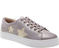 Tênis Sola Alta Prateado com Estrelas Douradas