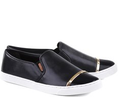Tênis Slip On Tira Metal Preto