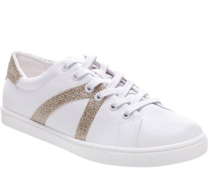 Tênis New Ana Glam Branco e Dourado