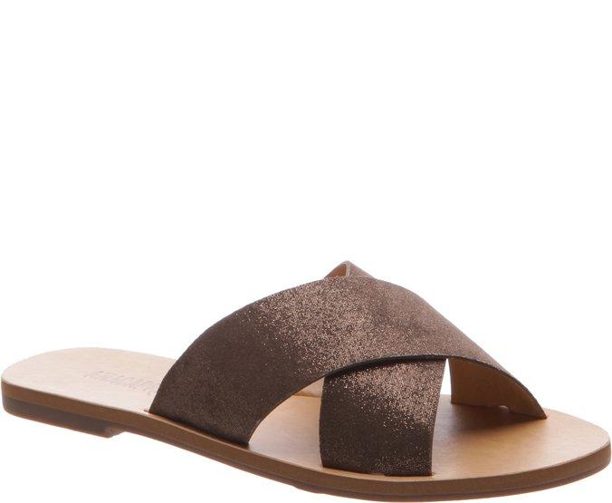 Rasteira Tiras Cruzadas Brilho Chocolate