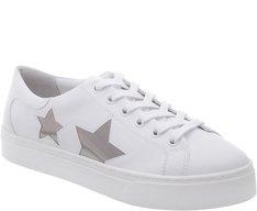 Tênis Sola Alta Branco com Estrelas Prateadas
