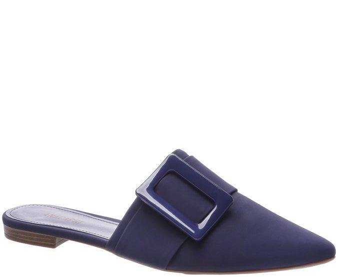 Mule Bico Fino Fivela Azul Marinho