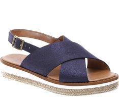 Sandállia Rasteira Flatform Brilho Azul