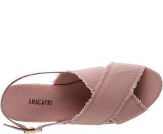 Sandália Flatform Tiras Cruzadas Lona Rosa Antigo