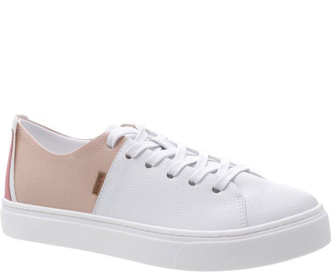 Tênis Sola Alta Recorte Branco e Blush