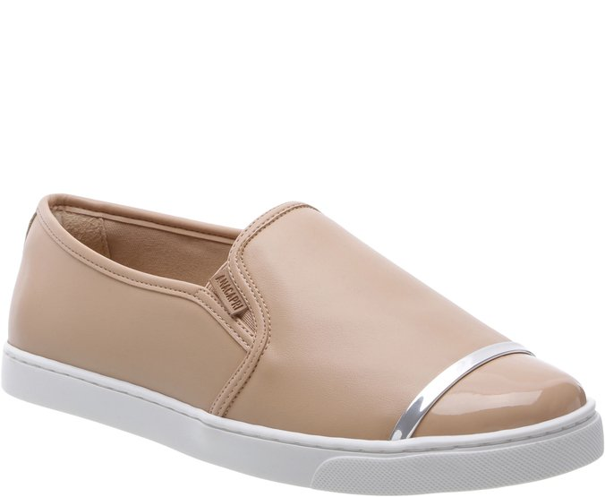 Tênis Slip On Tira Metal Nude