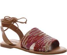 Sandália Rasteira Trança Tricolor Pink