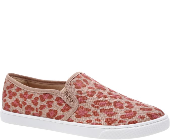 Tênis Slip On Lona Animal Print Rosa