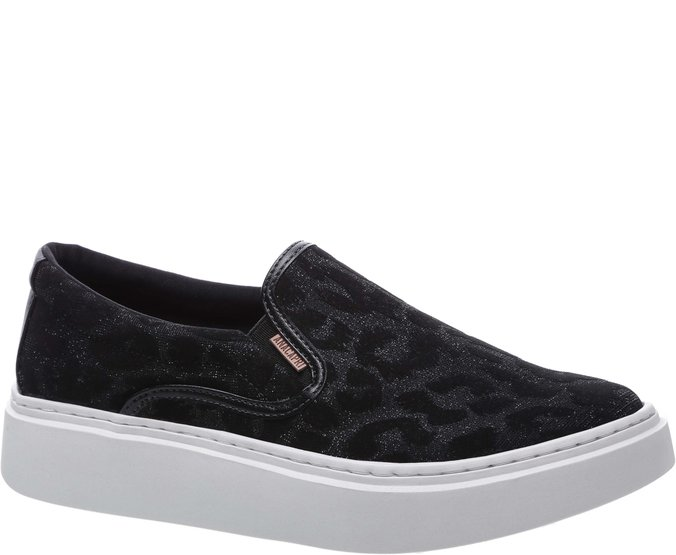 Tênis Duda Slip On Animal Print Preto
