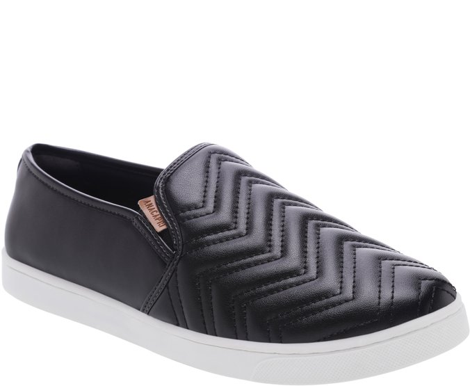Tênis Slip On Chevron Preto