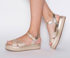 Sandália Flatform Juta Metalizada Dourada