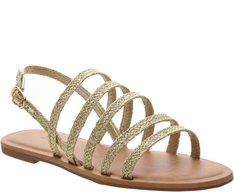 Sandália Tiras Corda Dourada