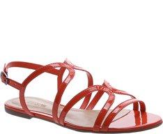 Sandália Tiras Verniz Vermelha