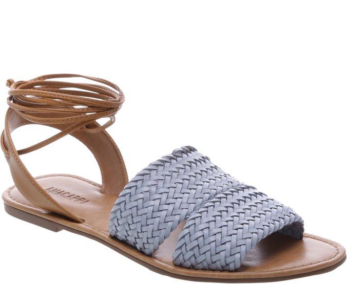 Sandália Rasteira Trança Jeans