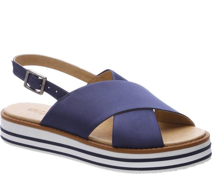Sandália Rasteira Flatform Cetim Azul