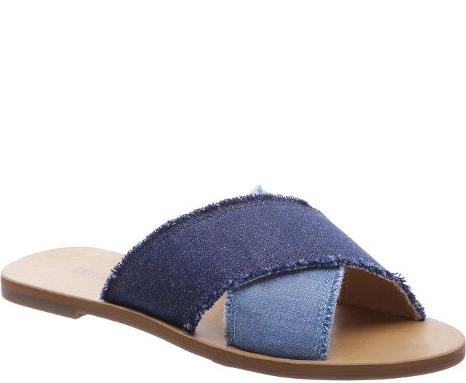 Rasteira Tiras Cruzadas Jeans
