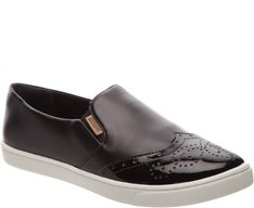 Tênis Slip On Brogue Preto